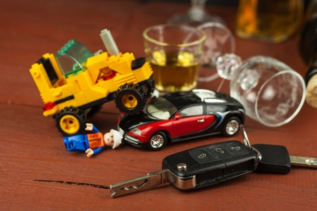 Driving under the influence of alcohol.  Dangerous ride. Alcohol behind the wheel. Drunken driver