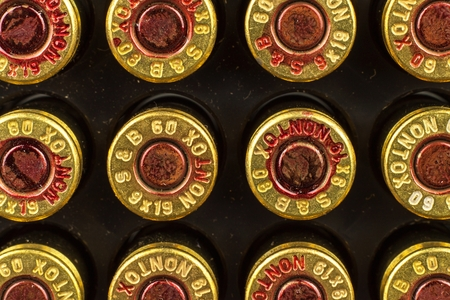 9mm ammo: BRNO, CZECH REPUBLIC -15 July, 2017: Ammunition caliber 9x19mm. Sellier & Bellot has produced ammunition in the Czech Republic since 1825. A detailed look at the designations of the cartridges