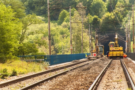 DOLNI LOCKY, CZECH REPUBLIC - JULY 25, 2017: Repair of the old railway bridge in the village of Dolni Loucky. The construction of the bridge began in 1940 and during the Second World War it was