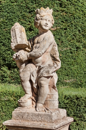 Sandstone baroque statues at the Buchlovice castle in the Czech Republic. Decorative sculptures in the garden