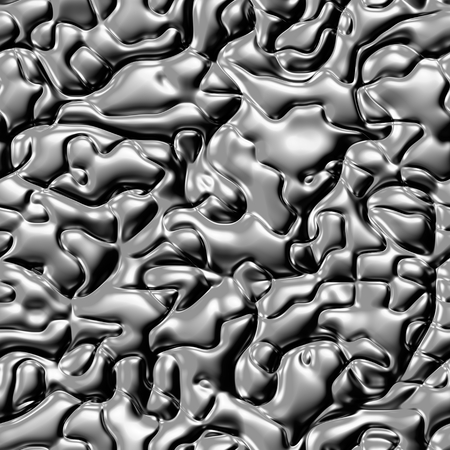 Seamless texture of liquid metal.  Colorful psychedelic background made of interweaving curved shapes. Illustration