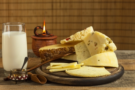 Production of cheeses on the farm.   Different types of homemade cheese Stock Photo