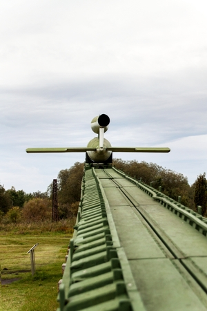 PEENEMUENDE, GERMANY - September 21, 2017:  Territory of the Army Research Center. WW-II developed V-1 and V-2 rockets. View of the V-1 missile. Flying Bomb