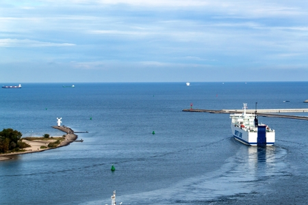 SWINOUJSCIE, POLAND, September 20-2017: Unity Line operates a year-round ferry service between the Polish port of Swinoujscie and the Swedish port of Ystad. A view of the ship leaving the harbor Editorial