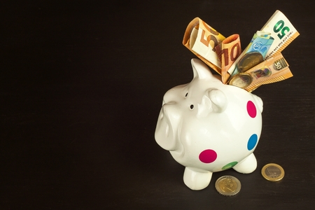 Piggy Bank. Money-box with valid euro banknotes. Savings on the mortgage. Bank sector Stock Photo
