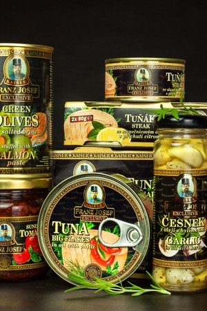 BRNO, CZECH REPUBLIC - DECEMBER 16, 2017: Kaiser Franz Josef Exclusive Canned Tuna with Chilli. Food for gourmets. Various types of delicacies of Kaiser Franz Josef Exclusive Editorial
