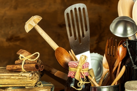 Kitchen tools on the table. Utensils for chefs. Old wooden spoon 스톡 콘텐츠
