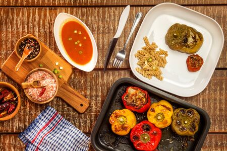 Colorful baked with cheese, stuffed peppers with minced meat. Top view. Minced meat and vegetables Banco de Imagens