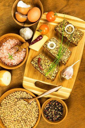 Roasted meatloaf from lentils. Vegetarian food. Legumes for lunch. Diet food. Vegetarian meat loaf. Food from lentils.