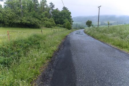 Rainy day. Country road in the Czech Republic. Wet and fog on the road. Danger of skidding. 版權商用圖片