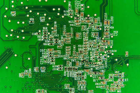 Circuit board. Electronic computer hardware technology. Motherboard digital chip. Printed Circuit Board with many electrical components. Foto de archivo