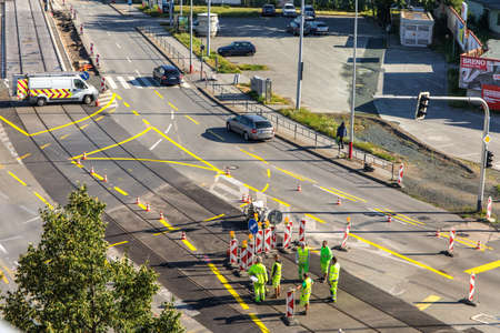 BRNO, CZECH REPUBLIC, JULY 12, 2020: Repair of the crossroads near the center of Brno. Sunday morning at the construction site. Editorial