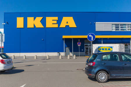 BRNO, CZECH REPUBLIC, JULY 12, 2020: IKEA household equipment store on the outskirts of Brno. Sunday morning in front of the store.