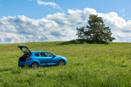Blue car on a green field. Sunny spring day on vacation with car. Car on a green field. Environment.