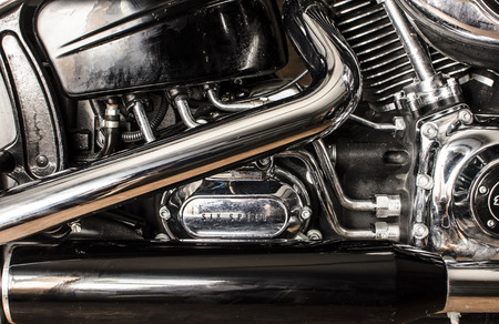 exhaust: Photo of motorcycle engin and exhaust pipes
