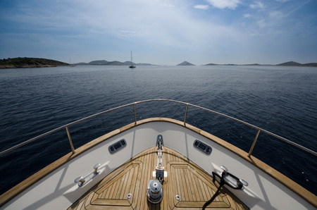 ship bow: Wide angle shot of front of the yacht in summer time Stock Photo