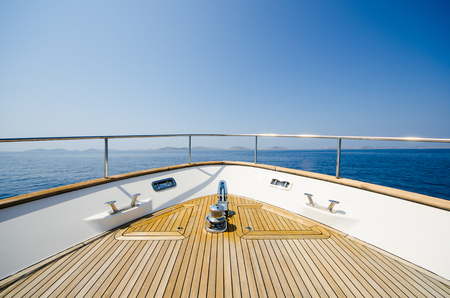 Wide angle shot of front of the yacht in summer time Foto de archivo