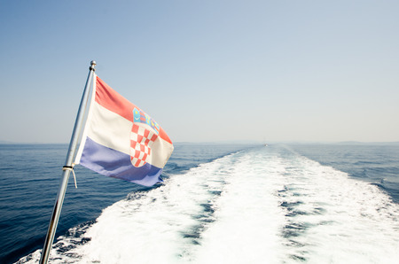 Croatian flag at sea