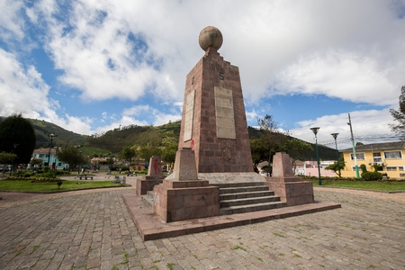 Equator monument. South America. Ecuador. Mitad del Mundo. One of the most visited by tourists from worldwide locations.