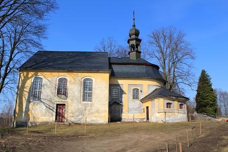 czech switzerland: A photo of a church taken in Bohemian Switzerland in Czech republic Archivio Fotografico