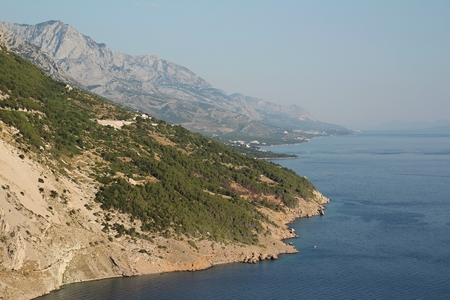 dalmatia: View of sea and Biokovo mountains in Croatia Stock Photo