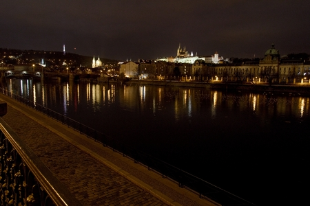 Evening panorama of the Old Town architecture with Vltava river and Prague Castle with St.Vitus Cathedral in Prague, Czech Republic Editorial