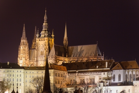 Evening panorama of the Old Town architecture with Prague Castle with St.Vitus Cathedral in Prague, Czech Republic Editorial