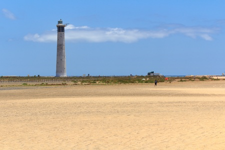 Lighthouse on a beach in Morro Jable, Fuerteventura- Canary Islands Stock Photo