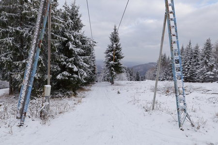 Old ski anchor lift at the foot of the Jedlova mountain, Czech Republic Stock Photo