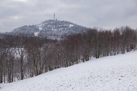 A winter view of the scenery of the Luzicke hory mountains in Czech Republic  in the winter