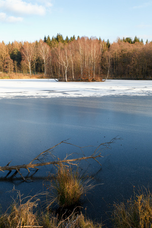 View of the winter landscape with a pond and a small island in Rumburk, Czech Republic Stock Photo