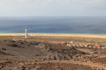 View of the Morro Jable in Fuerteventura with hotels, lighthouse and beaches Stock Photo