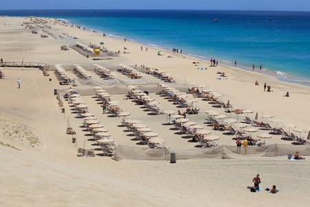 Morro Jable, Fuerteventura/ Spain, May 16, 2018: Beach in Morro Jable, Fuerteventura- Canary Islands Editorial