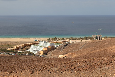 Morro Jable, Fuerteventura Spain, May 18, 2018: View of the Morro Jable in Fuerteventura with hotels and beaches