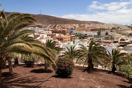 Morro Jable, Fuerteventura Spain, May 18, 2018: Morro Jable and view of hotel building , Fuerteventura- Canary Islands