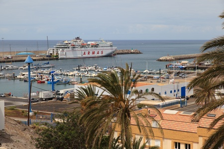 MORRO JABLE, FUERTEVENTURA SPAIN - MAY 21, 2018: View on the Port of Morro Jable with boats.
