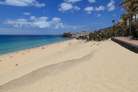 Morro Jable, Fuerteventura/ Spain, May 21, 2018: Beach in Morro Jable, Fuerteventura- Canary Islands Stock Photo - 114942539