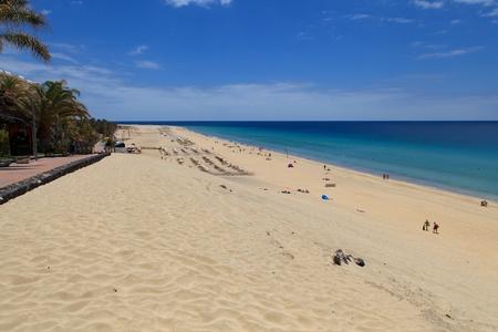 Morro Jable, Fuerteventura/ Spain, May 21, 2018: Beach in Morro Jable, Fuerteventura- Canary Islands