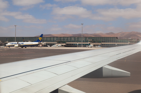 Puerto del Rosario, Fuerteventura, Canary Islands, Spain - May 15, 2018: View of the airport and the aircraft in international airport of Fuerteventura