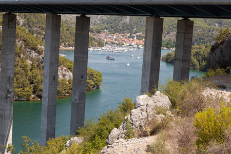Highway bridge over the Adriatic Sea in Croatia