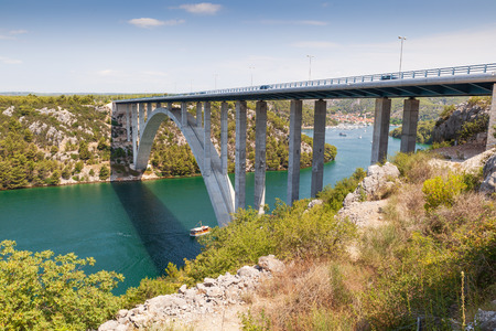 Highway bridge over the Adriatic Sea in Croatia Stock Photo - 115746986