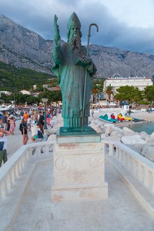 BASKA VODA - CROATIA - JULY 23 , 2018: Holy Nicholas statue in Baska Voda, Croatia. Editorial