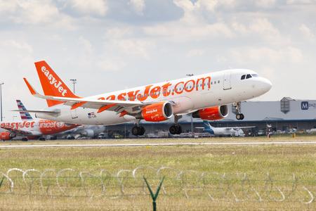 Prague, Czech Republic, July 13, 2018: View of the landing plane at Prague Airport, Czech Republic Editorial