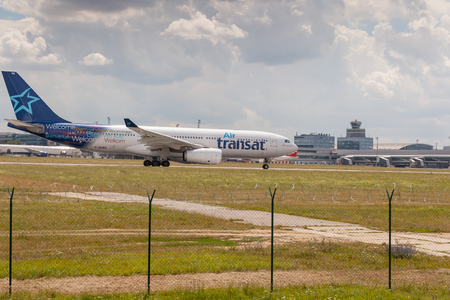 Prague, Czech Republic, July 13, 2018: View of the take-off plane at Prague airport Editorial
