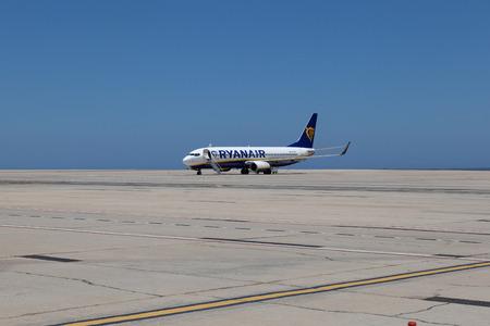 Fuerteventura, Spain - May 22, 2018 : Airbus aircraft in Fuerteventura airport