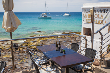 Morro Jable, Fuerteventura/ Spain, May 21, 2018: Restaurant in Morro Jable, Fuerteventura- Canary Islands