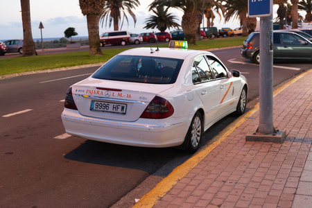 Morro Jable, Fuerteventura Spain, May 17, 2018: Car taxi waits for customer