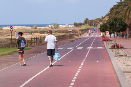 Morro Jable, Fuerteventura Spain, May 17, 2018: Beach and promenade in Morro Jable, Fuerteventura- Canary Islands