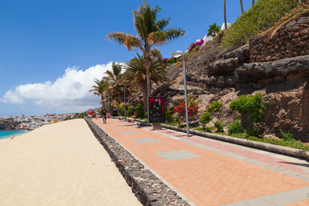 Morro Jable, Fuerteventura Spain, May 16, 2018: Beach and promenade in Morro Jable, Fuerteventura- Canary Islands