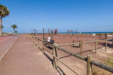 Morro Jable, Fuerteventura Spain, May 15, 2018: Playground near the beach by the promenade